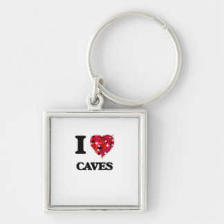 I love Caves Silver-Colored Square Keychain