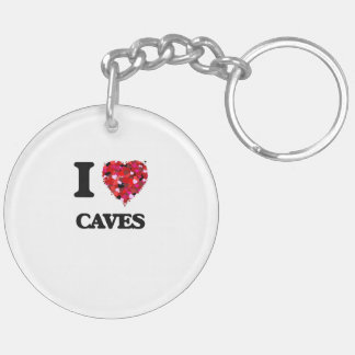 I love Caves Double-Sided Round Acrylic Keychain