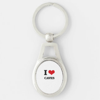 I love Caves Silver-Colored Oval Metal Keychain