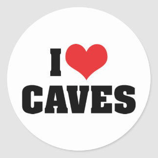 I Love Caves Round Stickers
