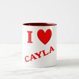 I Love Cayla Two-Tone Coffee Mug