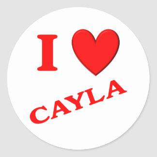 I Love Cayla Classic Round Sticker