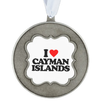 I LOVE CAYMAN ISLANDS SCALLOPED PEWTER ORNAMENT