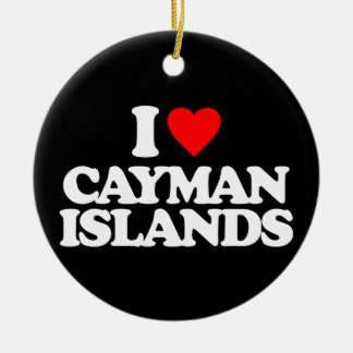 I LOVE CAYMAN ISLANDS CHRISTMAS ORNAMENTS