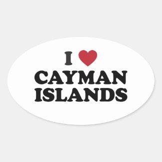 I Love Cayman Islands Oval Sticker