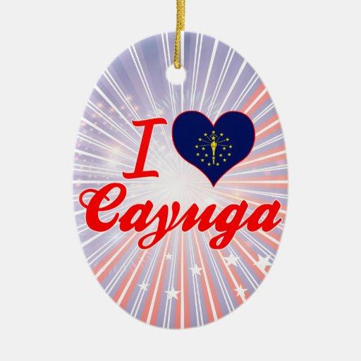 I Love Cayuga, Indiana Christmas Tree Ornaments