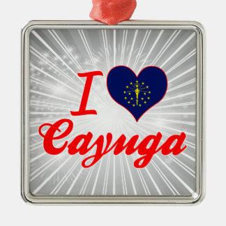 I Love Cayuga, Indiana Square Metal Christmas Ornament