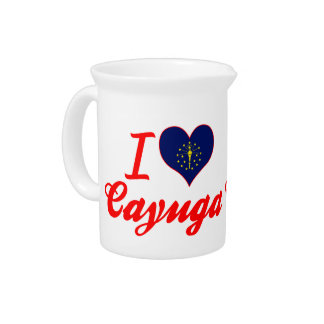 I Love Cayuga, Indiana Drink Pitcher