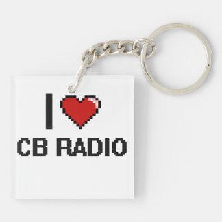 I Love Cb Radio Digital Retro Design Double-Sided Square Acrylic Keychain
