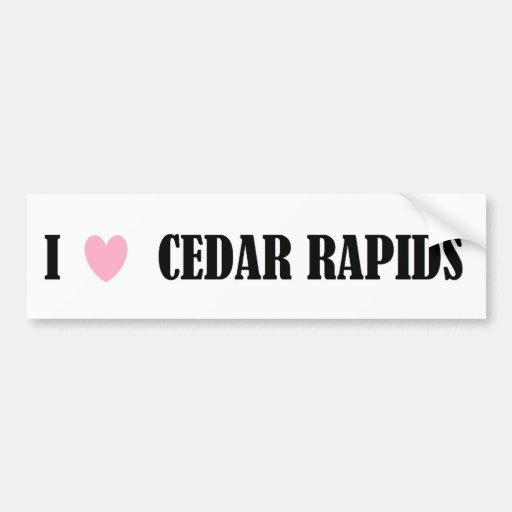 I Love Cedar Rapids Bumper Sticker Car Bumper Sticker