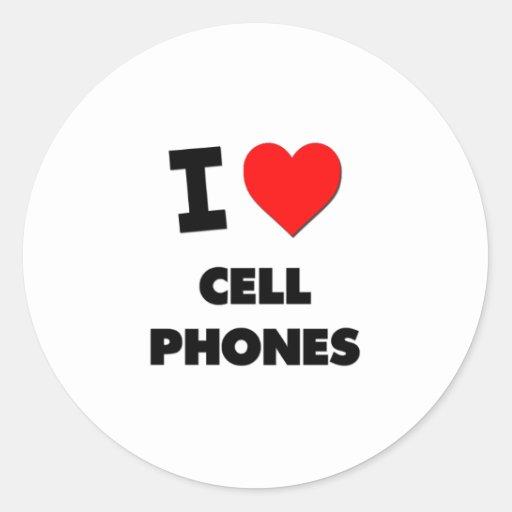 I love Cell Phones Round Sticker