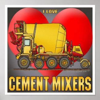 I Love Cement Mixer Trucks Poster Print