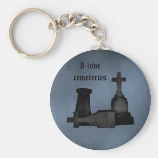 I love cemeteries gothic tombstones keychain