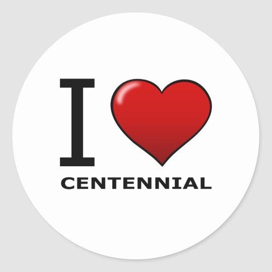 I LOVE CENTENNIAL, CO - COLORADO CLASSIC ROUND STICKER