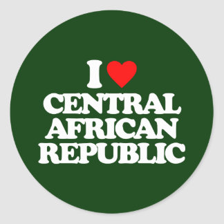 I LOVE CENTRAL AFRICAN REPUBLIC CLASSIC ROUND STICKER