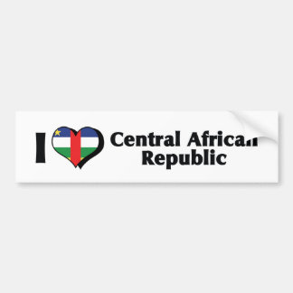 I Love Central African Republic Flag Bumper Sticker