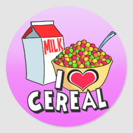 I LOVE CEREAL CLASSIC ROUND STICKER