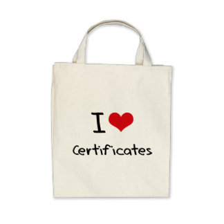 I love Certificates Canvas Bags