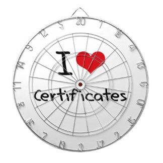 I love Certificates Dart Boards