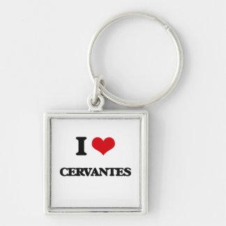 I Love Cervantes Silver-Colored Square Keychain