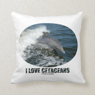 I Love Cetaceans (Bottlenose Dolphin Breaching) Throw Pillow
