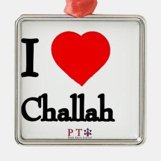 I love challah metal ornament