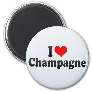 I Love Champagne 2 Inch Round Magnet
