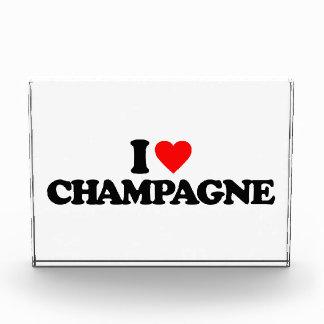 I LOVE CHAMPAGNE ACRYLIC AWARD