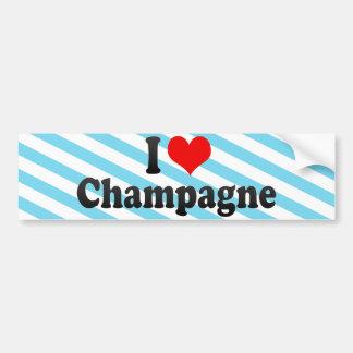 I Love Champagne Car Bumper Sticker