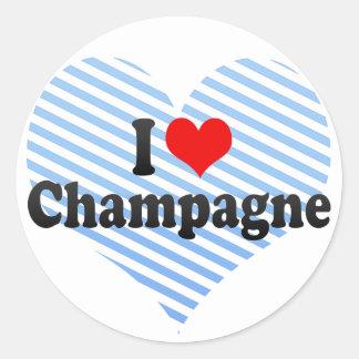 I Love Champagne Classic Round Sticker