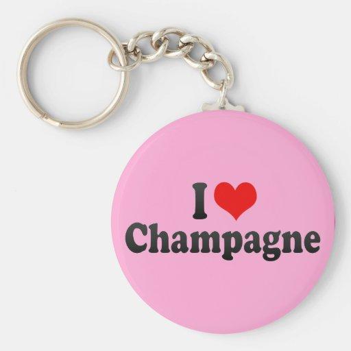 I Love Champagne Keychains