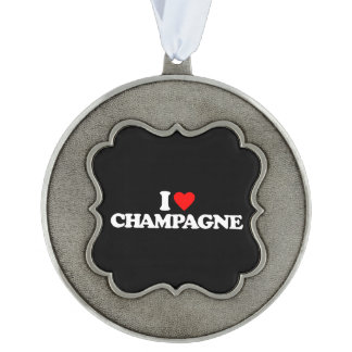 I LOVE CHAMPAGNE PEWTER ORNAMENT
