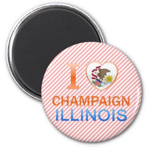 I Love Champaign, IL 2 Inch Round Magnet