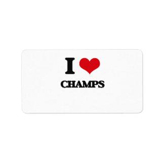 I love Champs Custom Address Labels