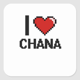 I Love Chana Digital Retro Design Square Sticker