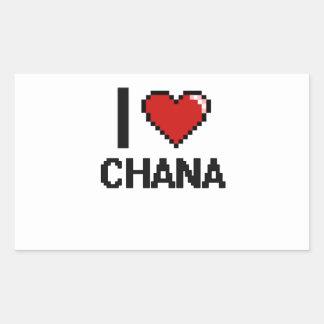 I Love Chana Digital Retro Design Rectangular Sticker