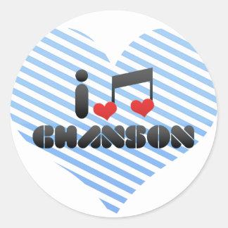 I Love Chanson Round Stickers