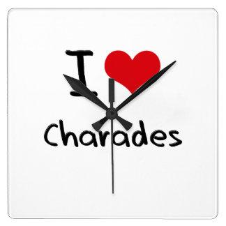 I love Charades Square Wall Clock