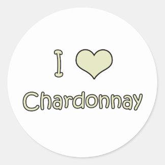 I Love Chardonnay Round Sticker