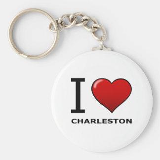 I LOVE CHARLESTON,SC - SOUTH CAROLINA BASIC ROUND BUTTON KEYCHAIN