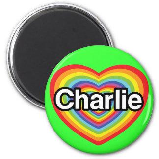 I love Charlie: rainbow heart 2 Inch Round Magnet