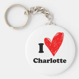I love Charlotte Basic Round Button Keychain