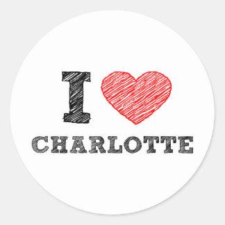 I Love Charlotte Classic Round Sticker