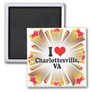 I Love Charlottesville,+VA 2 Inch Square Magnet