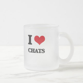I love Chats 10 Oz Frosted Glass Coffee Mug