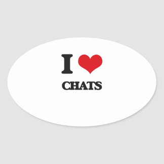 I love Chats Oval Stickers