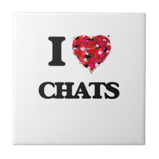 I love Chats Small Square Tile