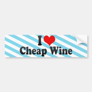 I Love Cheap Wine Car Bumper Sticker