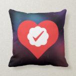 I Love Check Marks Throw Pillows