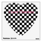 I Love Checkers Heart Decal Checkerboard B/W